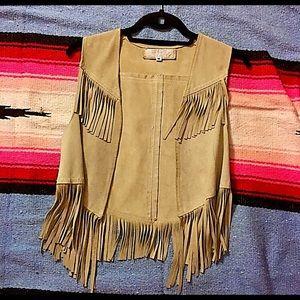 Vintage Bergdorf Goodman Suede Fringe Vest